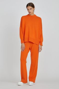 Aila Jersey Knit Cashmere Pullover in Orange Rib Knit, Cashmere, Jumpsuit, Autumn, Pullover, Orange, Knitting, Winter, Dresses