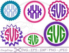 SVG Monogram Frame Circle, files for Cricut, DXF files designs for silhouette, cut file, svg monogram, SVG monogram Designs
