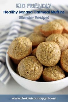 Healthy Banana Oatmeal Muffins (Blender Healthy Banana Oatmeal Muffins made in the blender! These sugar free, no flour healthy banana and peanut butter muffins are perfect for breakfast on the go and for babies & toddlers! 5 minutes prep time, so easy and Banana Oatmeal Muffins, Healthy Banana Muffins, Healthy Breakfast Muffins, Breakfast On The Go, Healthy Toddler Muffins, Oat Muffins, Banana Oats, Breakfast Ideas, No Sugar Peanut Butter