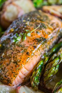 Sheet Pan Salmon with Creamy Scalloped Potatoes and Asparagus