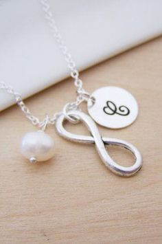 Infinity Charm Freshwater Pearl Initial Personalized Sterling Silver Necklace