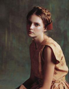 "autumn in my veins  milkmaid braids  romantic makeup  girl looking ""three quarters"""