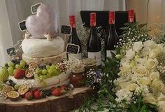 Wedding cheese cakes are still a new concept. I sourced the layers from http://www.whitestonecheese.com/pages/wedding-cakes/, and http://kaikouracheese.vendecommerce.com/ created the Picorino heart topper. Teamed with a good New Zealand red wine, in this case Rabbit Ranch Pinot Noir http://www.rabbitranch.co.nz/rabbit-wine/rabbit-ranch-pinot-noir/ A savoury option to close! out a magical evening!