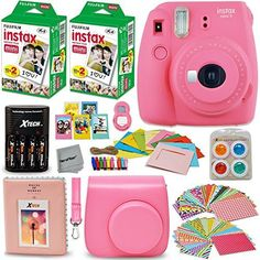 Fujifilm Instax Mini 9 Instant Camera PINK  Fuji INSTAX Film 40 Sheets  Accessories Kit  Bundle  Custom Case  4 AA Rechargeable Batteries  Charger  Assorted Frames  Photo Album  MORE ** For more information, visit image link. #LovelyPictures