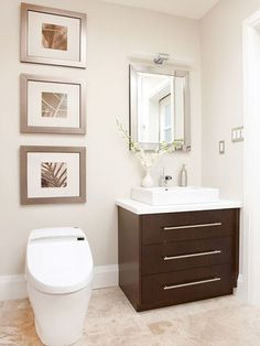 Discover how you can make your small bathroom seem big with these great bathroom vanity ideas. These vanity tips and ideas will give you style without taking away from your bathroom space. Create the look you want for your small bathroom. Small Bathroom Vanities, Bathroom Spa, Bathroom Renos, Bathroom Design Small, Bathroom Ideas, Bathroom Makeovers, Simple Bathroom, Small Bathrooms, White Bathroom