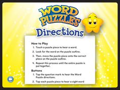 Word Puzzles: Kids Learn Sight Words Game app combines the fun of words and solving jigsaw puzzles with hands on and audio features. $1.99 to purchase this app from iTunes today!