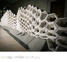 A group of undergraduate students enrolled in the Digital Tectonics course at Carnegie Mellon University experimented with a robot, creating unique molds Conceptual Model Architecture, Parametric Architecture, Parametric Design, Modern Architecture, Folding Structure, Concrete Structure, D Lab, Carnegie Mellon, Exhibition Booth Design