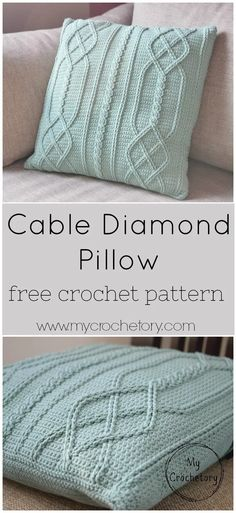 Cable Diamond Pillow - free crochet pattern by MyCrochetory - Cable Diamond Pillow – free crochet pattern by MyCrochetory The pattern of Cable Diamond Pillow is giving a modern twist to this traditional cable texture. Crochet Diy, Crochet Afghans, Crochet Pillow Patterns Free, Crochet Stitches, Free Pattern, Crochet Blankets, Afghan Patterns, Square Patterns, Crochet Granny