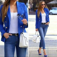 What's exquisite about summer casual and street style looks is that there're plenty of options that are polished and cozy to hang around in under such high Casual Chic Outfits, Classy Outfits For Women, Blazer Outfits For Women, Outfits Damen, Business Casual Outfits, Clothes For Women, Blazer Jeans, Look Blazer, Outfit Jeans