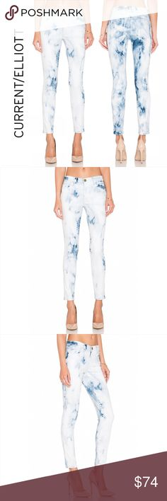 """New CURRENT ELLIOTT STILETTO Skinny Denim 97910 CURRENT ELLIOTT STILETTO Skinny Denim Jeans Indigo Summer Tie Dye #97910   Show off your funky style when you wear in these fantastic pair of distressed designer skinny jeans. These premium blue jeans will have you feeling comfortable and stylish all day! Size 26 Brand new with tags. Cotton blend Made in USA  MEASUREMENTS Waist:  13.5"""" flat across Rise:  8"""" Inseam: 28""""  Size Guide: 24=00, 25=0, 26=2, 27=4, 28=6, 29=8, 30=10, 31=10-12, 32=12…"""