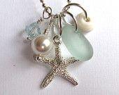 Seafoam Seaglass Starfish  Necklace
