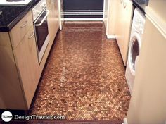 penny floor tile - this might be fun to put in the laundry room :-)   I think I have enough in my penny jar!  LOL