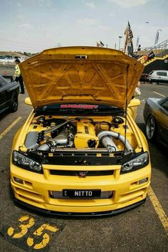 I have a thing for yellow bones Nitto is sexy Australian Beast Banana bomb R34 Gtr, Nissan Gtr Skyline, Gtr Nissan, Tuner Cars, Jdm Cars, Cool Sports Cars, Sport Cars, Gtr Car, Toyota