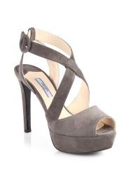 Prada Suede Crisscross Platform Sandals in  (GRIGIO-GREY)