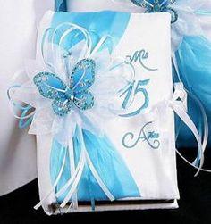 turquoise Quinceanera dress invitation | Festividades Bible [02-1-301]