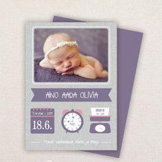 Ristiäiskutsu / ilmoitus syntymästä / kastetaulu, monia värejä Baby Photos, Your Photos, Birth Announcement Template, Birth Announcements, Notes Design, Simple Prints, Paint Shop, All Fonts, Photoshop Elements