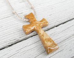 Handcrafted Wood Cross Necklace  Maple Burl by TheLotusShop, $14.95