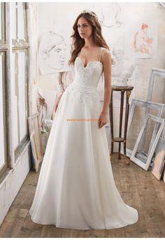 A-linie Herz-ausschnitt Schöne Brautkleider aus Organza mit Applikation