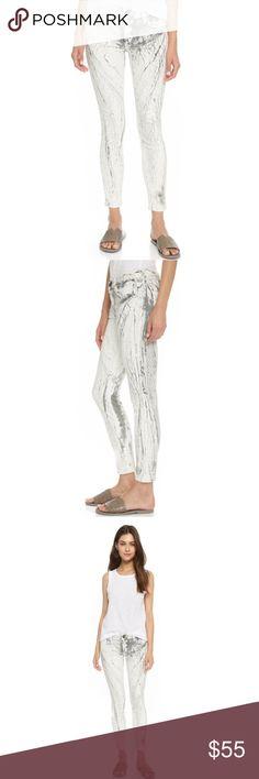 NWT$248 Current Elliott Skinny White Cracked Jeans The Stiletto in Cracked Earth Current/Elliott Jeans Skinny