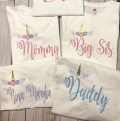 Unicorn family shirts, first birthday mom unicorn shirt, daddy of the birthday girl, mom and dad matching shirts, first birthday outfit Family Birthday Shirts, Family Birthdays, Family Shirts, First Birthdays, Princess First Birthday, Twin First Birthday, Baby Birthday, Birthday Ideas, Butterfly Birthday