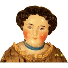 1870-1875 Kister or Kling Adelina Patti Style 25 Inch China Head from derbycitydolls on Ruby Lane
