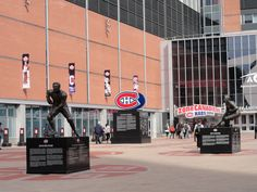 statues of Hockey greats - Maurice Richard and Guy Lafleur - in front of the Bell Centre in Montreal. Canada Trip, O Canada, Canada Travel, Montreal Ville, Montreal Quebec, Maurice Richard, Sports Stadium, Montreal Canadiens, Jet Plane