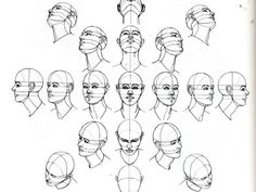 The head, at various angles, in perspective.  BEAUTIFUL REFERENCE  ooh