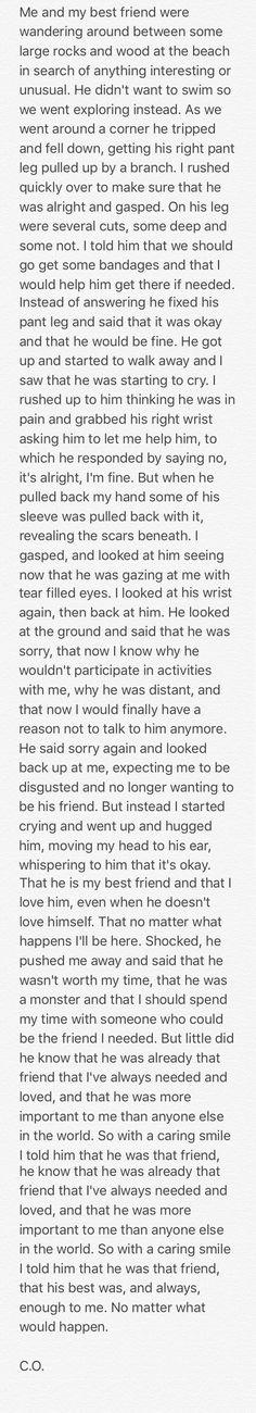 Short sad depressing self harm story of two friends friendship. Not a true story.