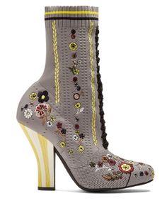Floral-embroidered striped-heel sock boots | Fendi | MATCHESFASHION.COM AU