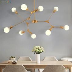 JW_Nordic Modern Simplicity LED Lusters Chandeliers Lights for Dining Room Lamps Branch Molecular Living Room Clothing Tea Shop-in Chandeliers from Lights & Lighting on Aliexpress.com   Alibaba Group