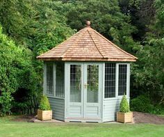 Choose from over 100 luxury garden summerhouses. Contemporary or traditional styles. Visit our extensive summerhouse display centre in Wiltshire, UK Cheap Pergola, Diy Pergola, Pergola Kits, Pergola Cover, Metal Pergola, Wooden Pergola, Pergola Ideas, Small Buildings, Garden Buildings