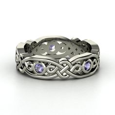 14K White Gold Ring with Iolite | Brilliant Alhambra Band | Gemvara Now has matching His & Hers Bands :) ! $765