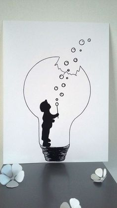 "Poster Illustration Black and white bulb ""the force of childhood"": Posters, illustration . - Poster Illustration Black and white bulb ""the force of childhood"": Posters, illustrations, posters - Cool Art Drawings, Pencil Art Drawings, Art Drawings Sketches, Easy Drawings, Sketch Art, Drawing Ideas, Drawing Simple, Pencil Drawing Inspiration, Mini Drawings"