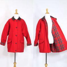 Vintage 1980s Jacket  80s 90s Wool Plaid Coat by FlyLarkVintage