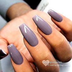 Gray Nails, Purple Nails, Matte Nails, Gradient Nails, Holographic Nails, Stiletto Nails, One Color Nails, Cute Nail Colors, Grey Nail Polish