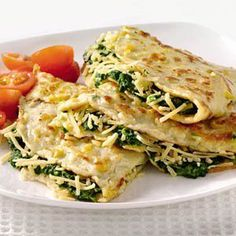 Ideas for spinach I Love Food, Good Food, Yummy Food, Veggie Recipes, Vegetarian Recipes, Healthy Recipes, Omelette, Healthy Cooking, Healthy Eating