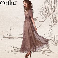 Artka Women'S Summer Bohemian Vintage V Neck  Half Butterfly Sleeve Slim Waist Print Chiffon Full One Piece Dress LA13243X -inDresses from A...