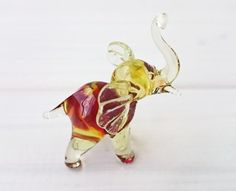 Mini Elephant Glass Figurine Glass Sculpture by MiniGlassStudio