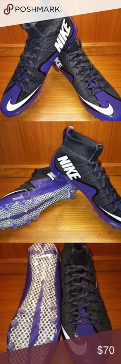 Nike Mens Vapor Untouchable TD Flyknit Brand new, unused :) Ships without box.  Nike Vapor Untouchable TD Flyknit Purple/Black Football Cleats  Men Size 14 - 707455 003  One-piece Flyknit upper constructed for maximum comfort and performance Durable skin layer fused to Flyknit upper to help keep the foot on the footbed Mid-height collar fits the ankle like a sock Carbon fiber plate provides lightweight stability without sacrificing flexibility Nike Shoes Athletic Shoes