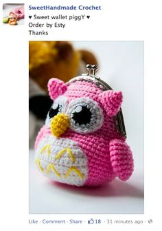 *( I Like this one best!!)                 cute crochet owl purse
