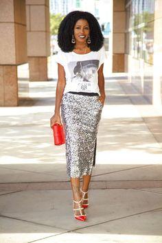 Graphic Tee + Sequin Midi Skirt