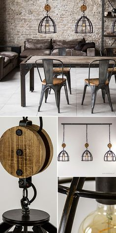 Industrial Dining Table Hanging Lamp 3 Lights This nationwide industrial hanging lamp has the best of both styles. Metal Wall Decor, Metal Wall Art, Dining Chairs, Dining Table, Industrial Dining, Beautiful Interiors, My Dream Home, New Homes, Chandelier