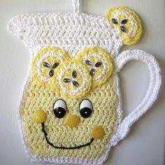 Crochet pitcher of lemon aid, wall deco. By Jerre Lollman