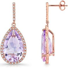 Victoria Kay Rose Gold-Plated Pink Amethyst Diamond Teardrop Earrings These Victoria Kay amethyst and diamond teardrop earrings a real stunner for day or night wear. Featuring two stunning pear-shaped pink amethyst stones totaling 12 carats that is surrounded by prong white diamonds. Pink amethyst that is 12.68 to 12.79 carats and white diamond is ⅜ carats or 0.34 to 0.42 carats respectively make these Victoria Kay teardrop earrings are so valuable and of course will be a treasure for…