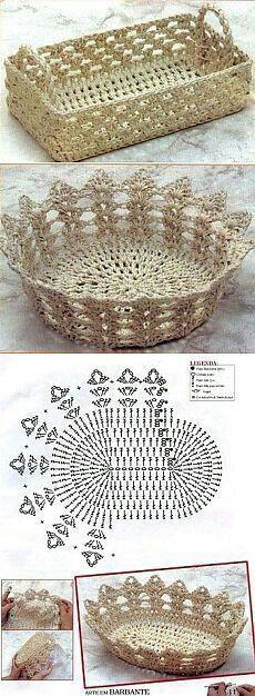 Ideas for basket crochet diagram ganchillo Crochet Bowl, Crochet Diy, Thread Crochet, Crochet Motif, Crochet Crafts, Crochet Doilies, Yarn Crafts, Crochet Projects, Crochet Patterns
