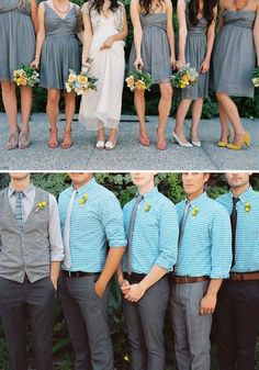 the groomsmen look awesome, but with solid blue and vests like the groom :)