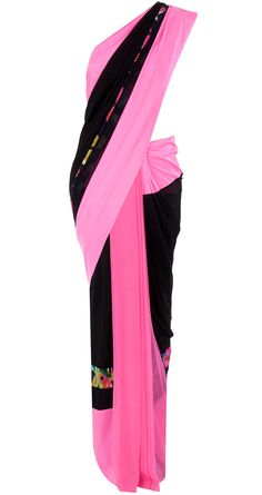 Black and floss sari with printed blouse available only at Pernia's Pop-Up Shop.