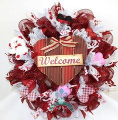 Valentines Day Deco Mesh Wreath with Large Welcome Sign by Crazyboutdeco on Etsy