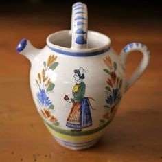 Antique Henroit Quimper French Faience Pottery Small Wine Jar Jug Breton Woman