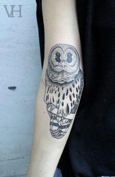owl by valentin hirsch #arm #forearm #tattoos